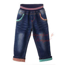 Girls Elastic Waist Jeans Casual Trousers Back With Cartoon Patch Denim Pants