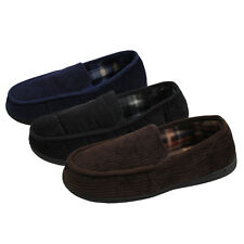 Mens Cordroy Textile Look Mule Slippers Super Soft Slip Ons Wear Shoes