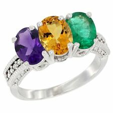 10k White Gold Natural Amethyst, Citrine & Emerald 3-Stone Oval Ring