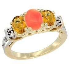10k Yellow Gold Natural Coral & Whisky Quartz 3-Stone Ring, with Diamond Accents