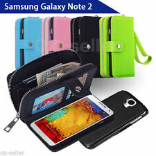 Samsung Galaxy Note II 2 N7100 Case Magnet Leather Coins Wallet Cover