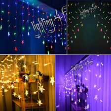 Multi Effect 6Ft 110LED Icicle Snowing Fairy Stars Window Outdoor Indoor Lights