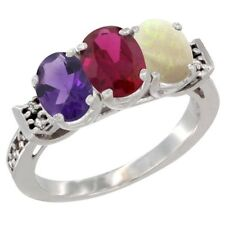 10k White Gold Natural Amethyst, Enhanced Ruby & Natural Opal 3-Stone Oval Ring