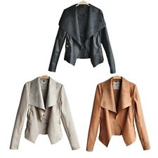 Lady Biker Motorcycle Cape Coat PU Leather Jacket Autumn Outfit Plus Size Hot