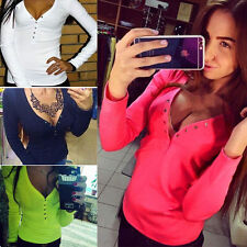 Chic Women Sexy Autumn Vest Top Long Sleeve Blouse Casual Tank Tops T-Shirt New