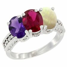 10k White Gold Natural Amethyst, Enhanced Ruby & Opal 3-Stone Oval Cut Ring