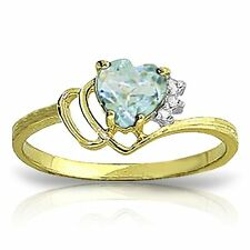 Genuine Aquamarine Heart  Gem & Diamonds Ring in 14K Yellow,  White or Rose Gold