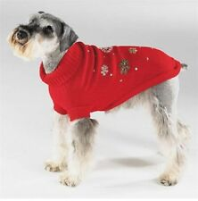 Casual Canine SPARKLE SEQUIN BEAD SNOWFLAKE KNIT DOG SWEATER Holiday Coat Jacket