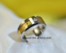 Unique 18K Gold Inlay Luxury engagement wedding Tungsten Band