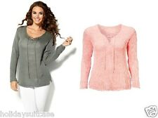 NEW LADIES WOMANS SEXY WINTER SUMMER SWEATER JUMPER TOP SIZE 16-26 UK PINK/KHAKI