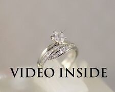 """FAMOUS""""*Round Cut 1.15CT Engagement Ring Platinum Fine.22KT.Silver Made in Italy"""