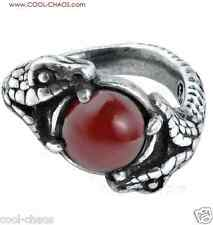 Viper Ring Alchemy Pewter Snake Red Carnelian Ring-Sexy Valentine's Day Gift