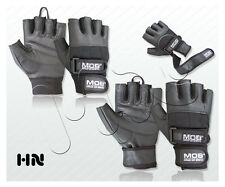 PADDED WEIGHT LIFTING LEATHER GLOVES FITNESS TRAINING GYM DOUBLE WRIST STRAPS