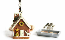 Christmas Gingerbread House Necklace handmade pendant jewelry 1/12 miniatures