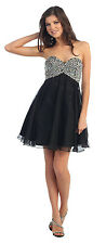 TheDressOutlet Short Rhinestone Detail Homecoming Cocktail Formal Prom Dress