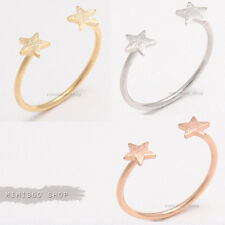 Tiny Mini Double Star Two Stars Open Thin Skinny Band Ring/ Adjustable Size