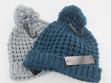 Ladies Knitted Beanie Bobble Hat Teal/Grey GL493