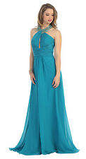 Halter Ruched Sexy Formal Prom Dress Long Gown Plus Size Floor Length Gown