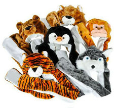 Plush Cartoon Animal Kids Winter Hood Hat Beanie with Long Scarf Mittens Gloves