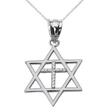 14k White Solid Gold Jewish Israel Star of David Diamond Cross Pendant Necklace