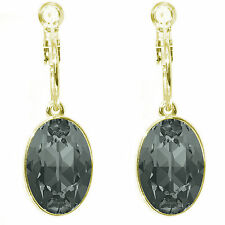 Crystal Oval  Earrings with hoop  made with SWAROVSKI® Crystal