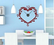 Wall Decal with Clock 59x57cm Heart Love Wall Clock Movement wedding stickers