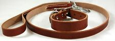 "DARK BROWN LEATHER DOG COLLAR LED LEASH COMBO SET 1"" COLLAR 3/4"" LEASH STAMPED"