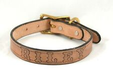 "NATURAL TAN LEATHER 1"" DOG COLLAR FREE CUSTOM NAME STAMPED PERSONAL EMBOSSED"
