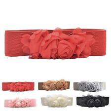 Fashion Women Elastic Waistband Chiffon Roses Belts Lady's Waistbelt Girl Belts
