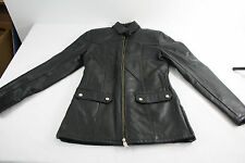 Women DROPSO M size 36 Genuine Quality Black Leather Jacket Motorcycle