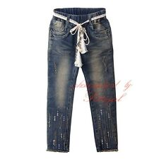 Infant Girls Sequined Jeans With Sash Straight Denim Pants Baby Kids Trousers