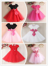 Kids Girls Baby Bow Tulle Dress Princess Party Pageant Evening Wedding Christmas