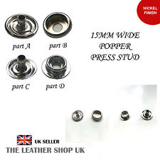 15mm Wide Nickle Finish Popper Press Stud For Leather Craft & Clothes UK Seller