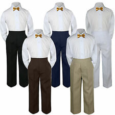 3pc Boy Suit Set Gold Bow Tie Baby Toddler Kid Formal Shirt Pants S-7