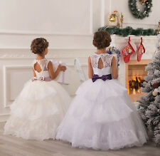 New white Lace Wedding Formal Flower Girls Dress Pageant  fluffy princess-G