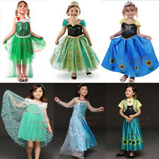 FROZEN Princess Anna Elsa Queen Girls Cosplay Costume Party Formal Fancy Dress