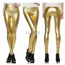 HOT Womens Girls Faux Leather High Waisted Fleece Leggings Skinny Pants