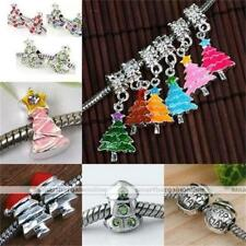 Xmas Tree Hat Sock Snowman Crystal European Bead Fit Charm Snake Chain Bracelet