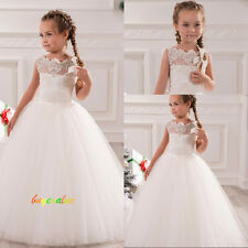Tutu dress white Lace Wedding Formal Flower Girls Dress Pageant Fluffy dress-G