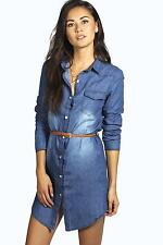Boohoo Womens Nina Belted Western Style Denim Shirt Dress