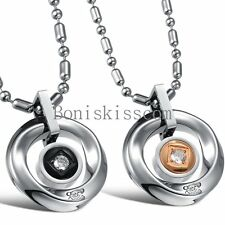 Stainless Steel Love Circle Mens Womens Couples Pendant Necklace Christmas Gift