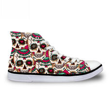 Cool Skull Womens Girls Lace-up High Top Flat Shoes Sneakers Casual Canvas Shoes