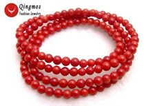 """SALE Beautiful! Small Round 5-6mm Red natural coral 30"""" bracelet/Necklace-bra298"""
