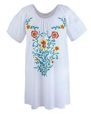 New Simply Be Gypsy Style Ladies Top Cotton Blouse Size 12 UK Floral Boho White