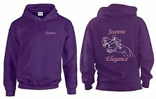 PERSONALISED HORSE RIDING HOODY SHOW JUMPING PONY HOODIE XMAS PRESENT PRINTED