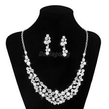Bridal Wedding Party Jewelry Crystal Rhinestone Necklace Earring Set