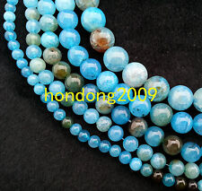 "Natural 4/6/8/10/12/14mm Sea Blue Dragon Agate Round Loose Beads 15""L"