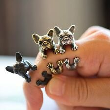 Chic 1pc French Bulldog Animal Wrap Dog Ring Adjustable Finger Jewellery Gifts