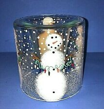 Hand Painted Glass Votive Snowman Candle Holder Christmas Lights Free Candle
