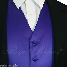 PURPLE  XS to 6XL Solid Tuxedo Suit Dress Vest Waistcoat Wedding Party Prom